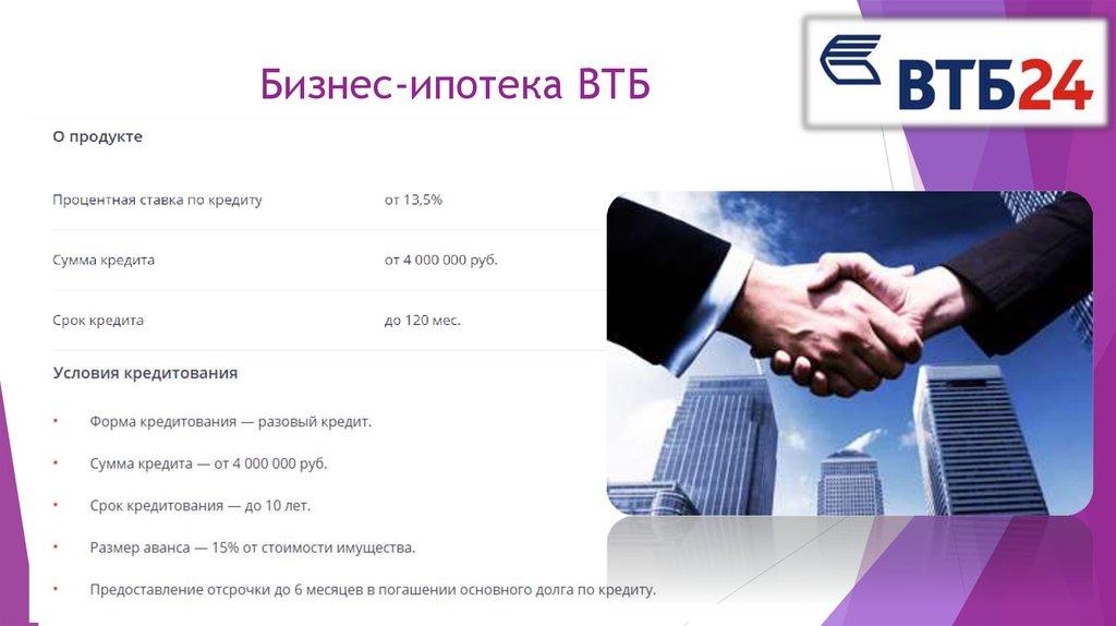 Кредиты в втб банке условия