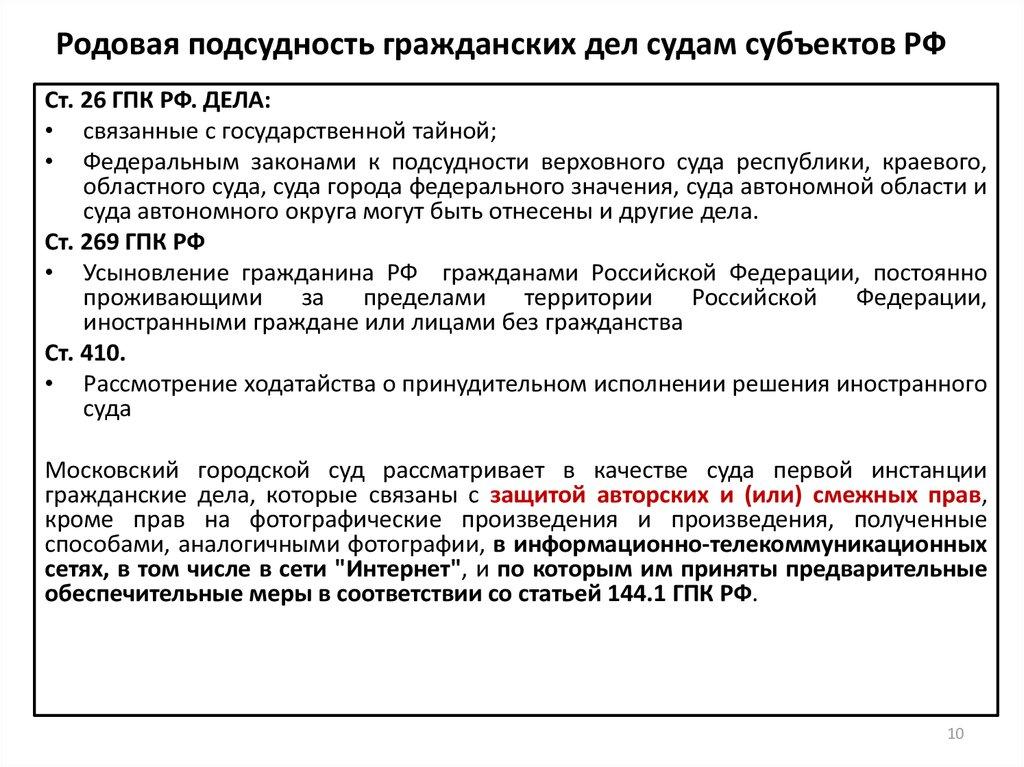 Территориальная подсудность гражданских дел гпк рф