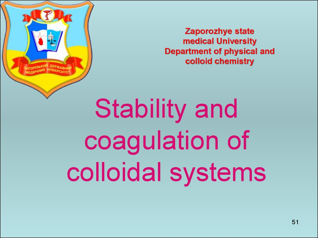 Stability and coagulation of colloidal systems