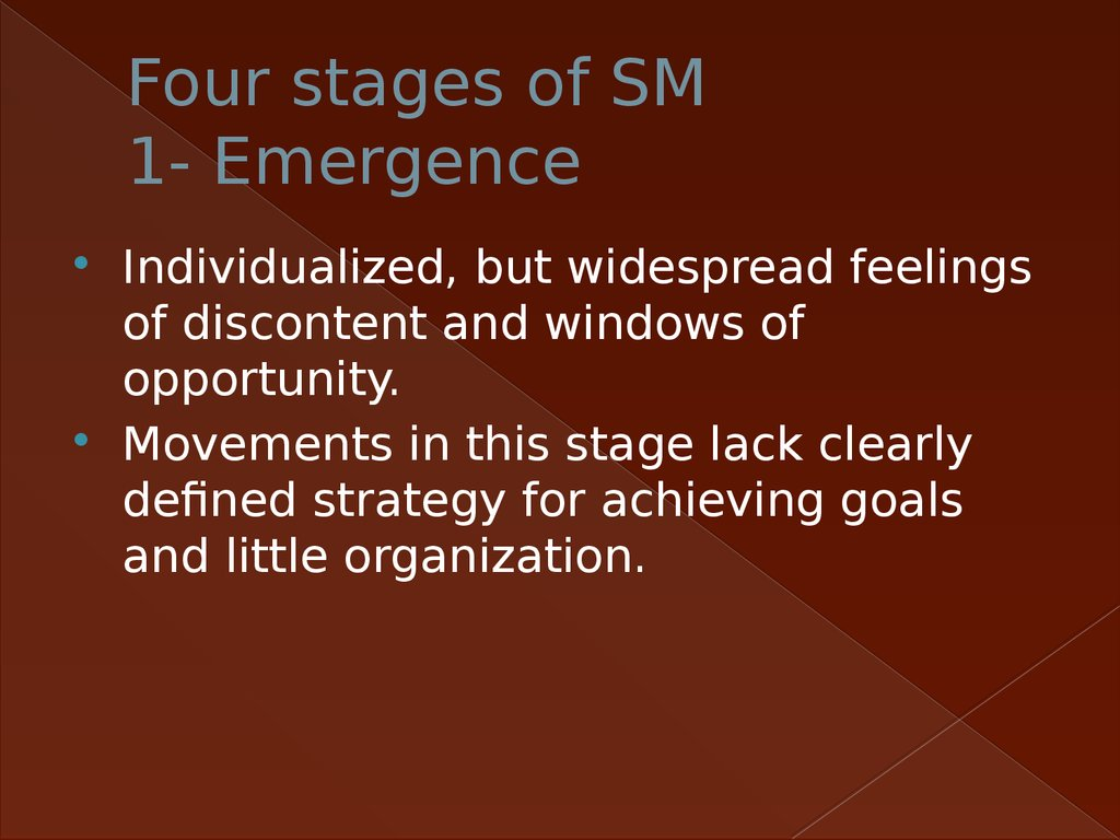 Four stages of SM 1- Emergence