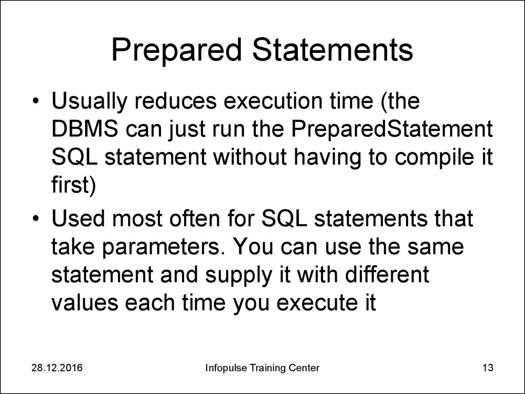 Prepared Statements