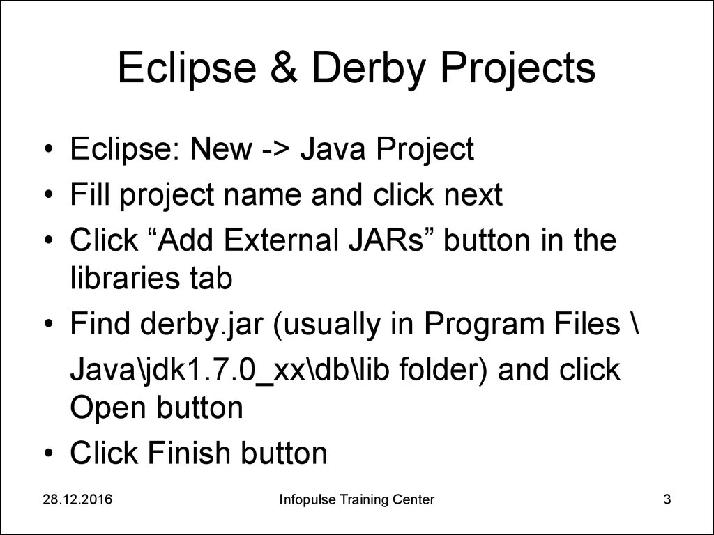 Eclipse & Derby Projects