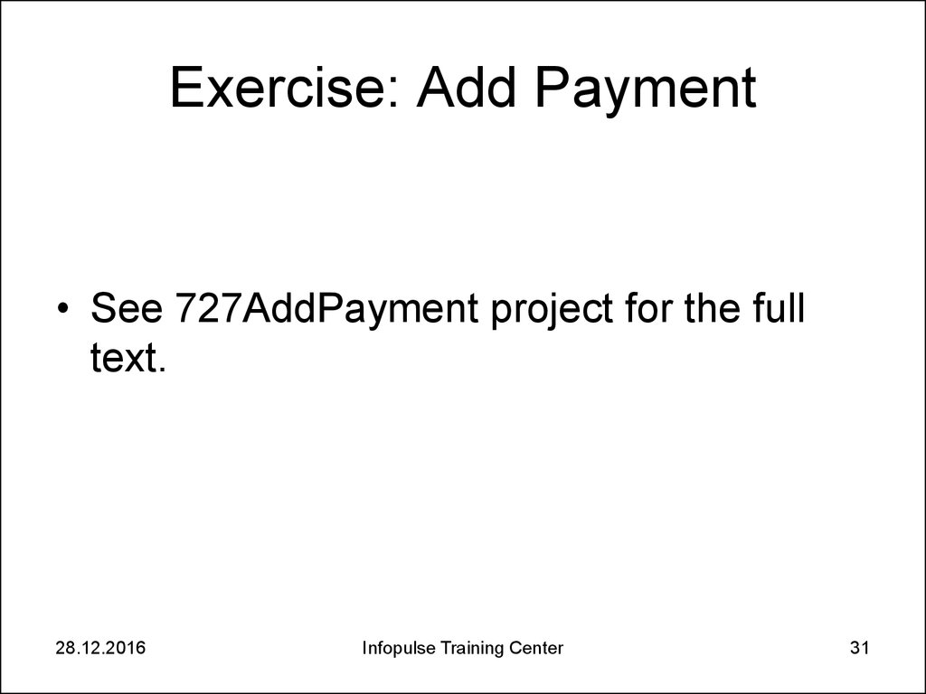 Exercise: Add Payment