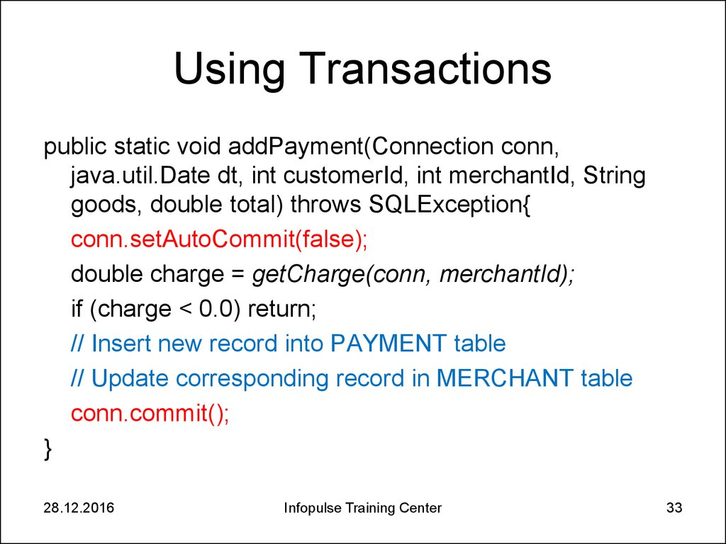 Using Transactions