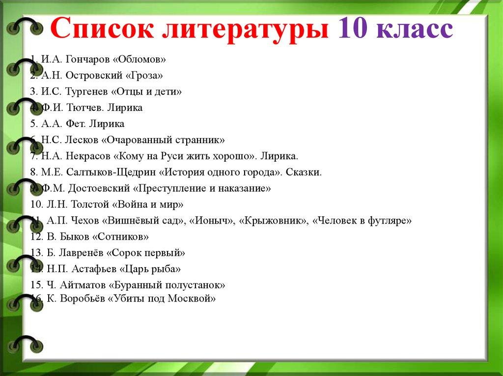 модели мужского чтение на лето 10 класс список особенностями