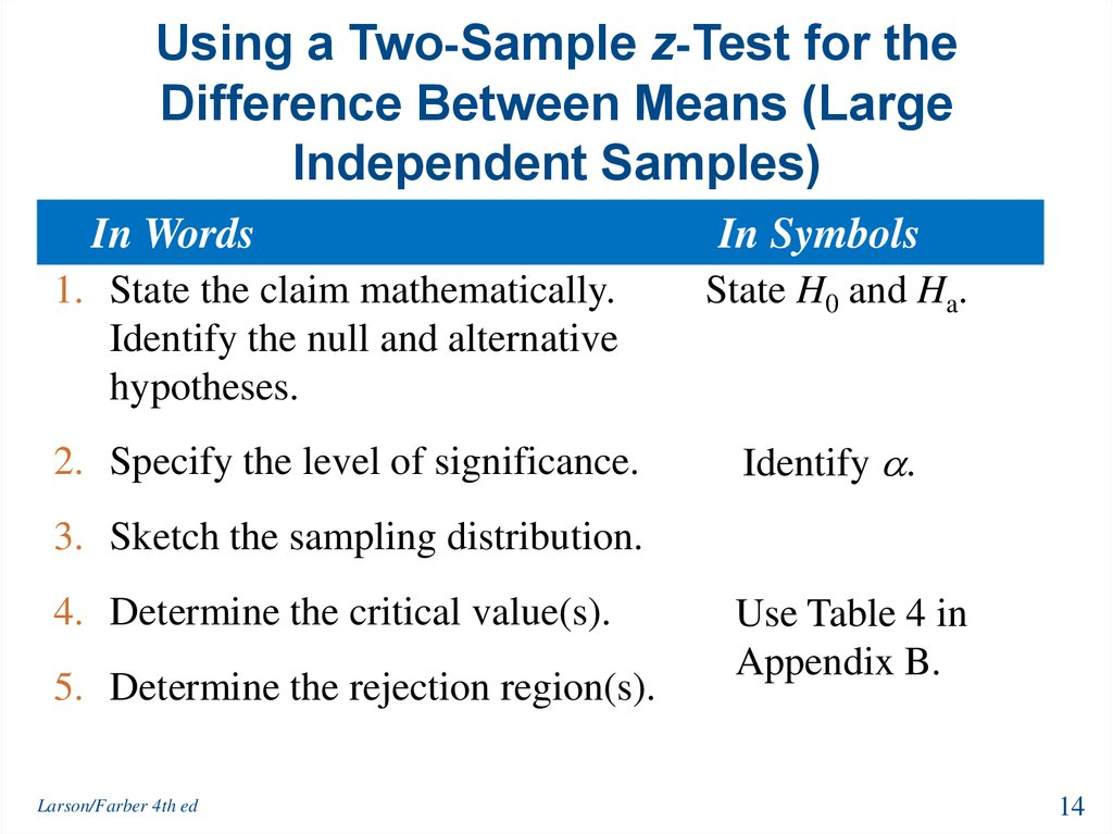 Using a Two-Sample z-Test for the Difference Between Means (Large Independent Samples)