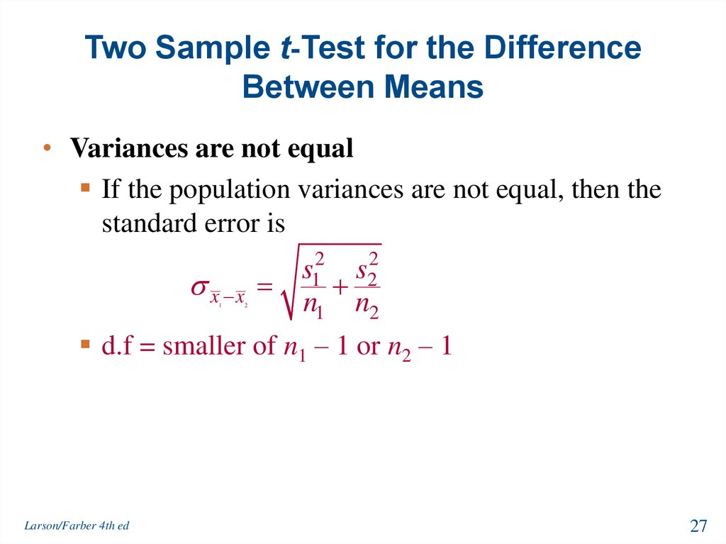 Two Sample t-Test for the Difference Between Means