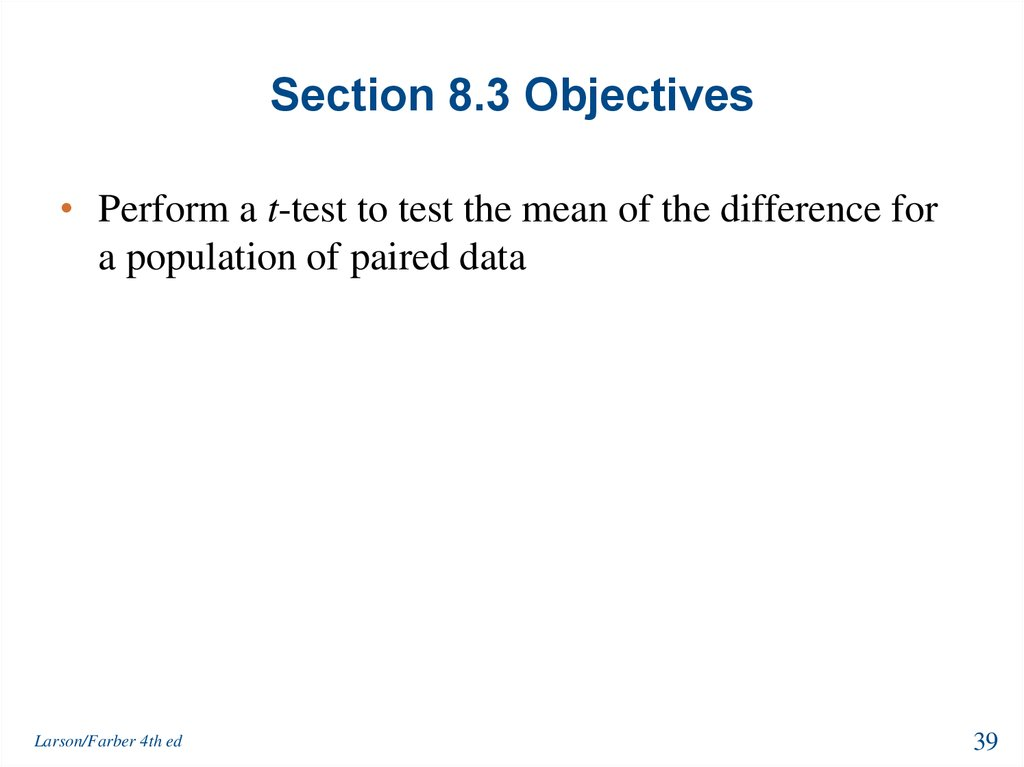 Section 8.3 Objectives