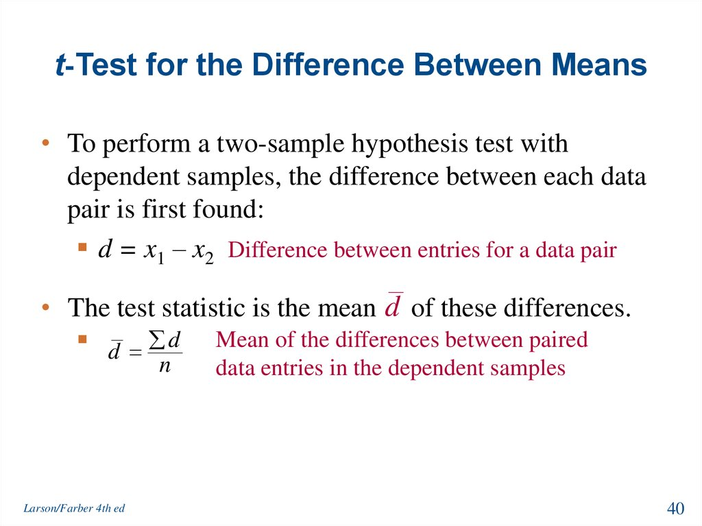 t-Test for the Difference Between Means