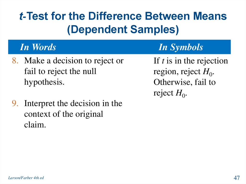 t-Test for the Difference Between Means (Dependent Samples)