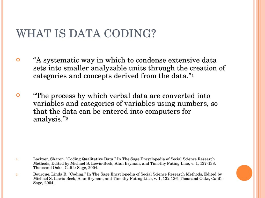 WHAT IS DATA CODING?