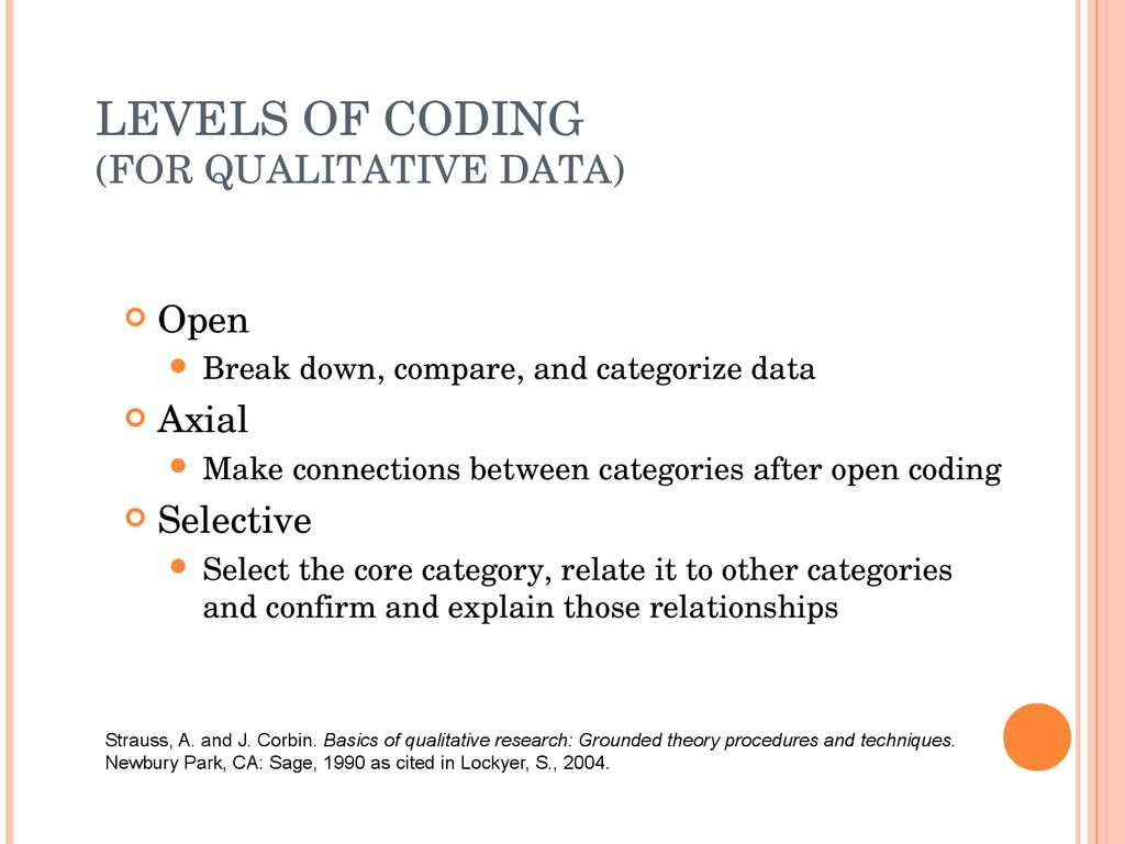 LEVELS OF CODING (FOR QUALITATIVE DATA)