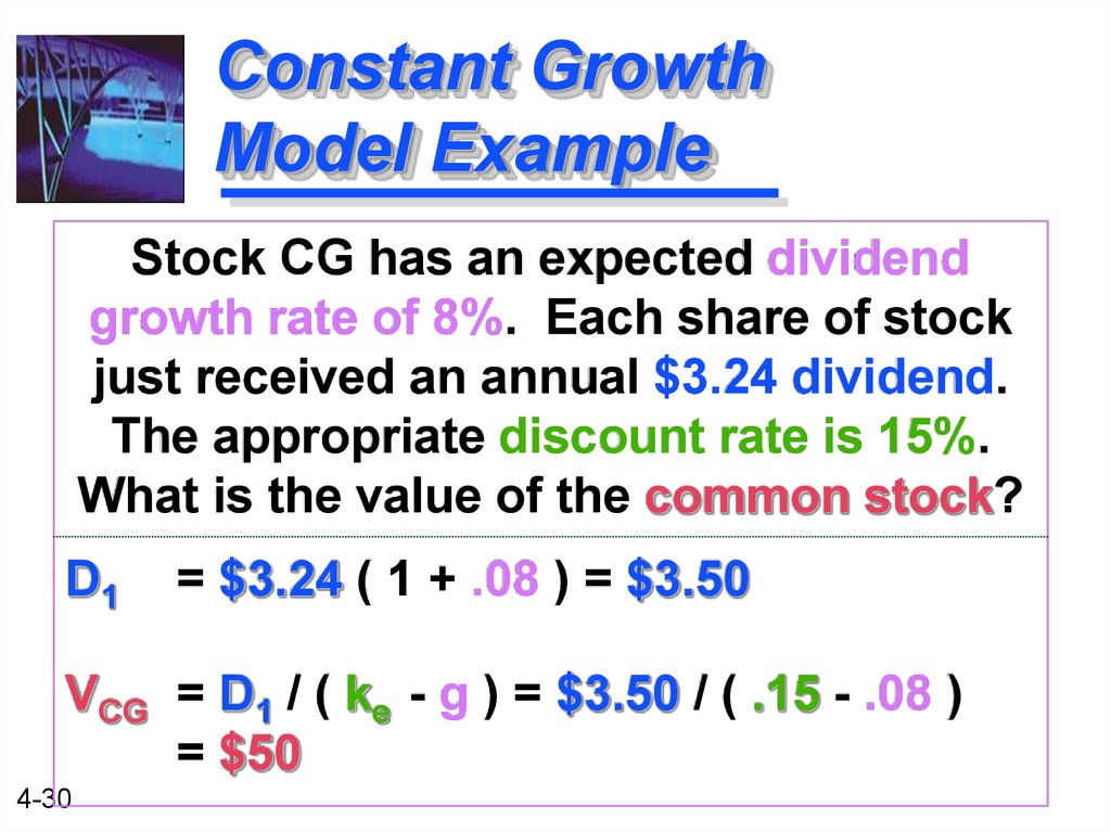 Constant Growth Model Example