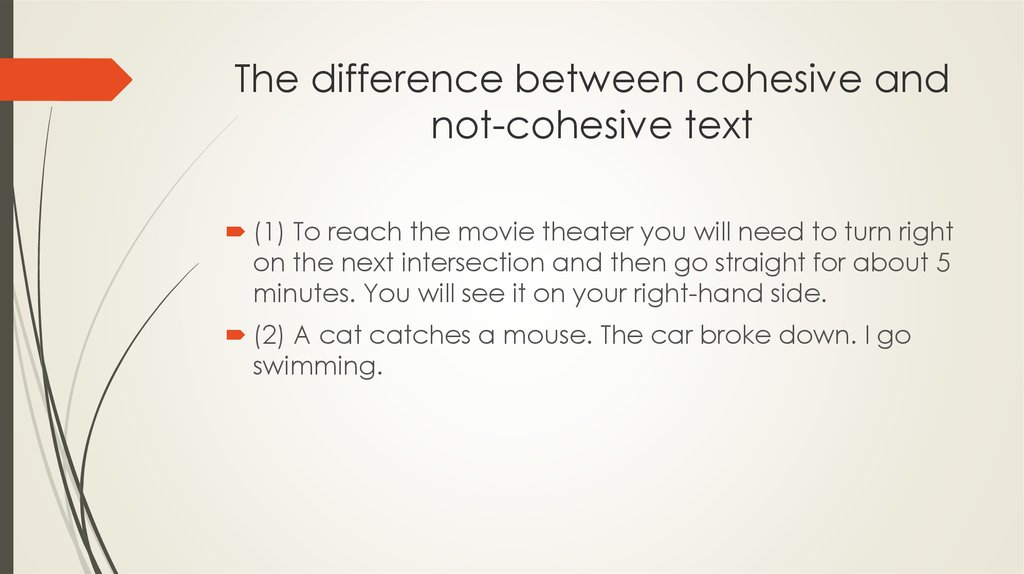 The difference between cohesive and not-cohesive text