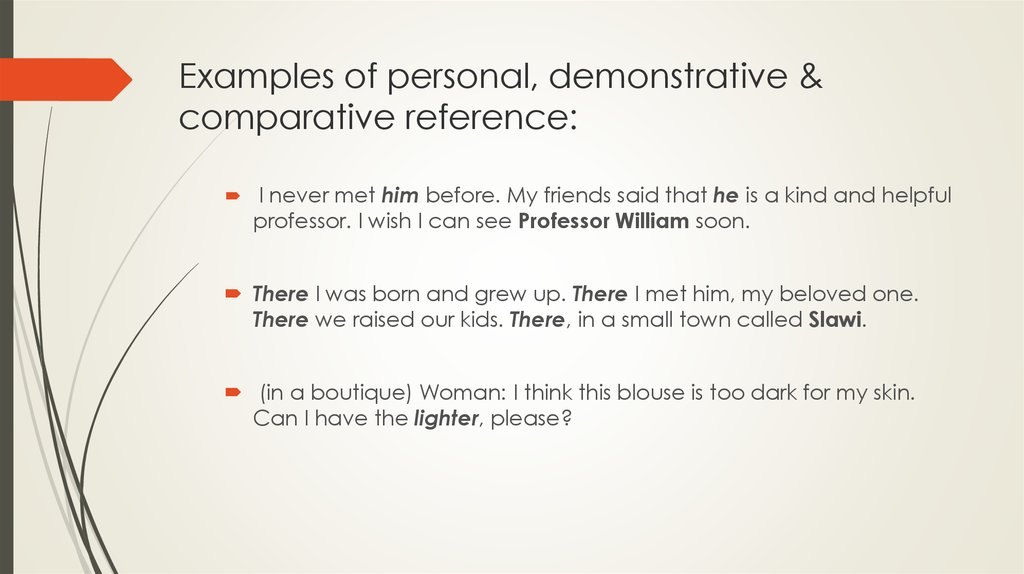 Examples of personal, demonstrative & comparative reference: