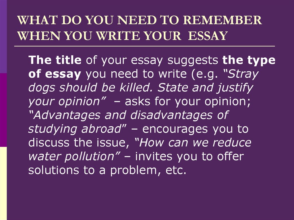 WHAT DO YOU NEED TO REMEMBER WHEN YOU WRITE YOUR  ESSAY
