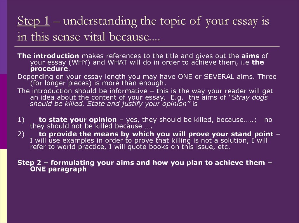 Step 1 – understanding the topic of your essay is in this sense vital because....