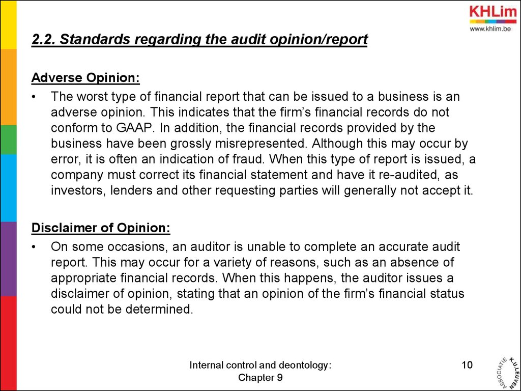 auditing chapter 9 Transcript of chapter 9 - managing and controlling ethics programs chapter 9  to verify outcome and compare them with standards can be considered an auditing.