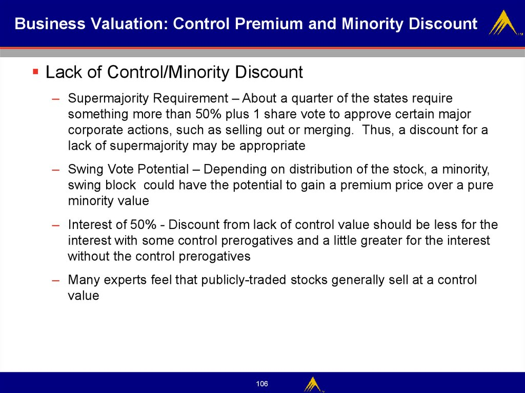 Business Valuation: Control Premium and Minority Discount
