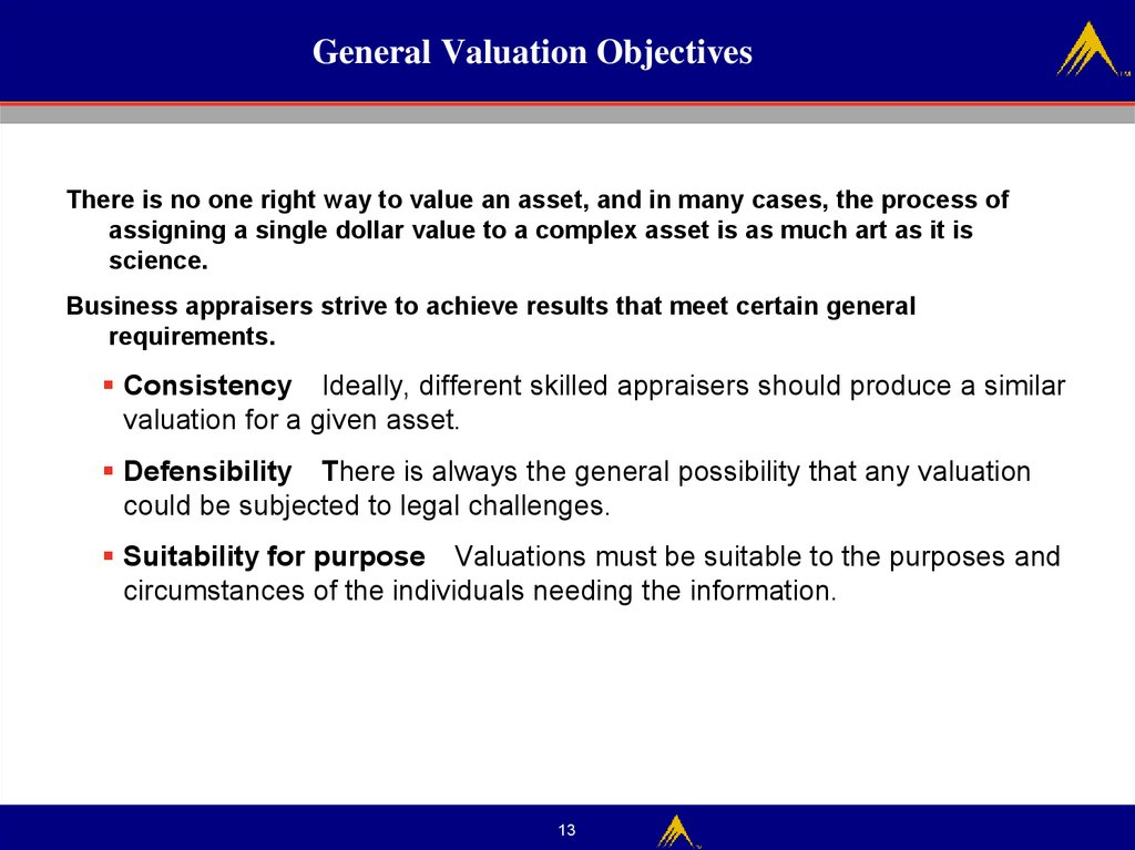 General Valuation Objectives