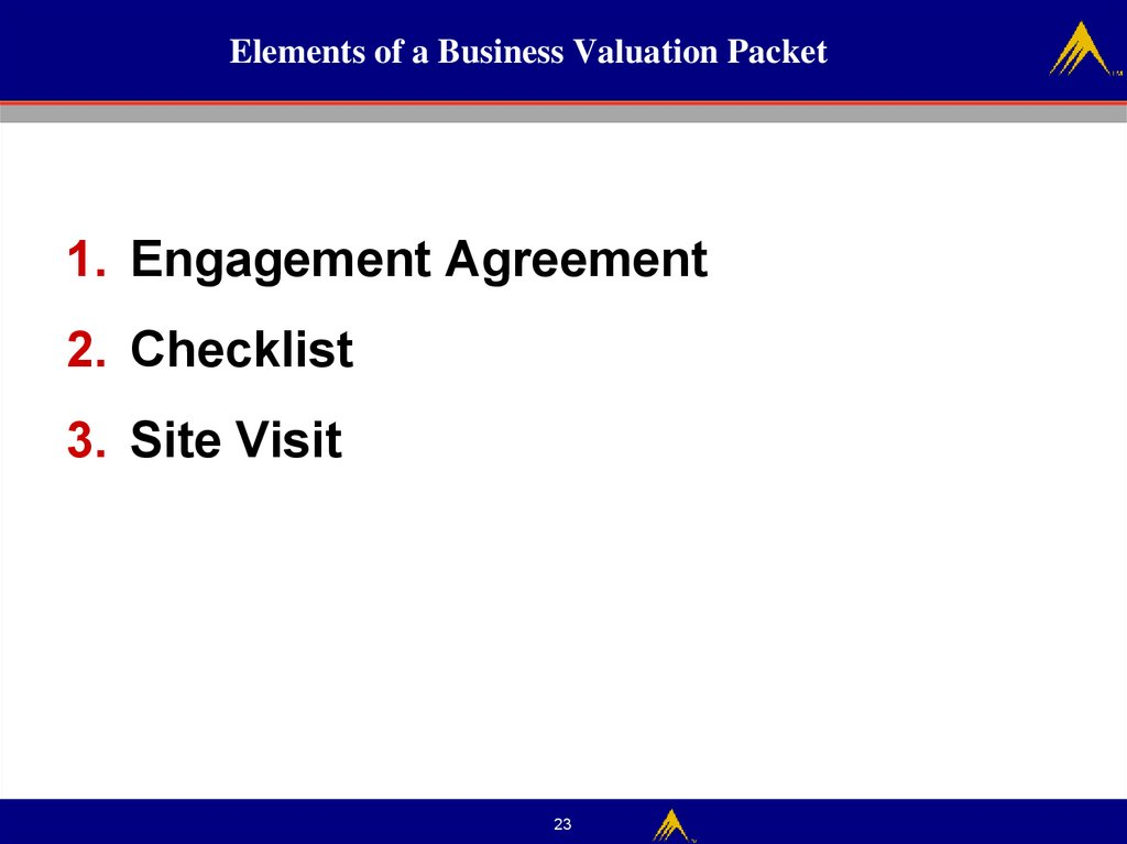 Elements of a Business Valuation Packet
