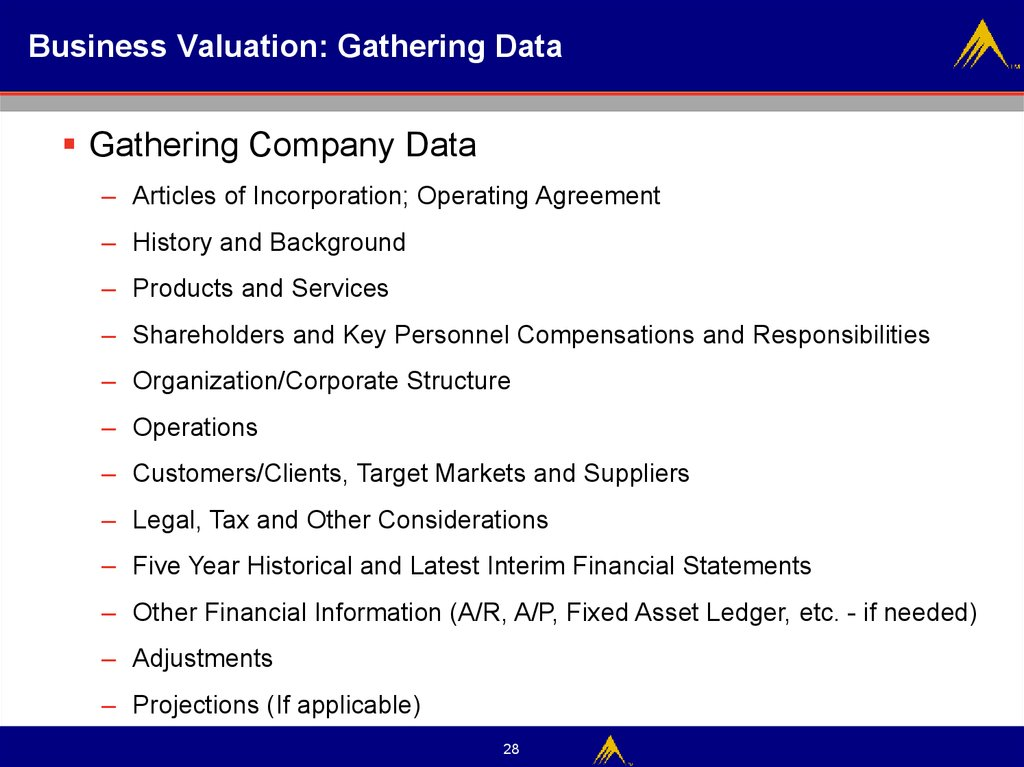 Business Valuation: Gathering Data