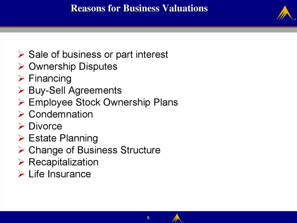 Reasons for Business Valuations