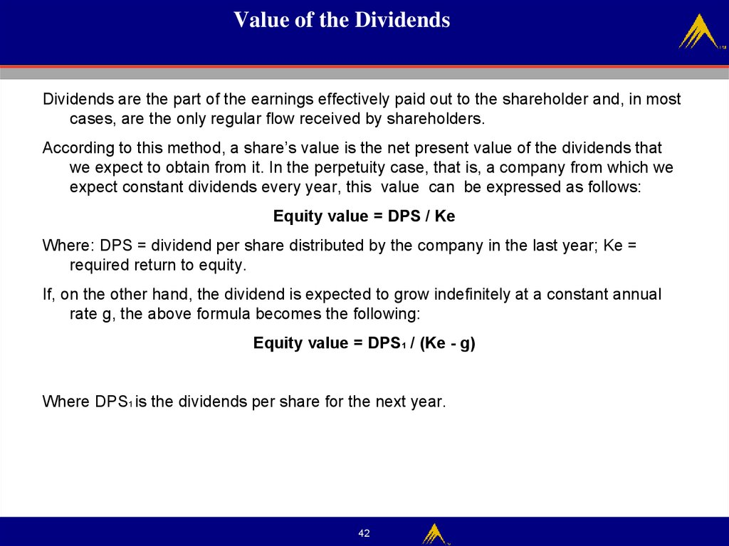 Value of the Dividends