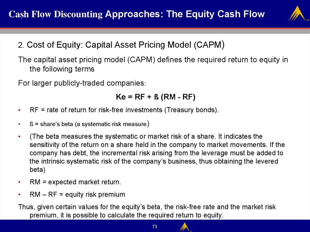 Cash Flow Discounting Approaches: The Equity Cash Flow