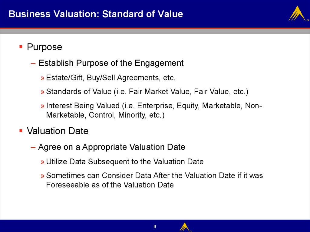 Business Valuation: Standard of Value