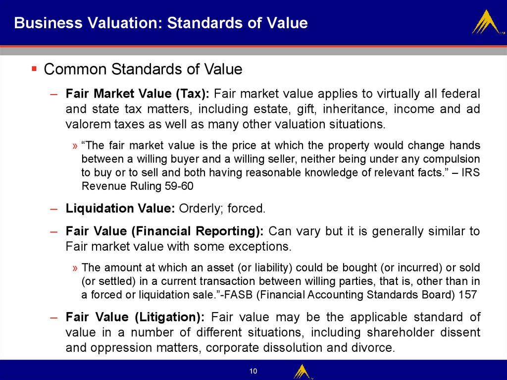 Business Valuation: Standards of Value