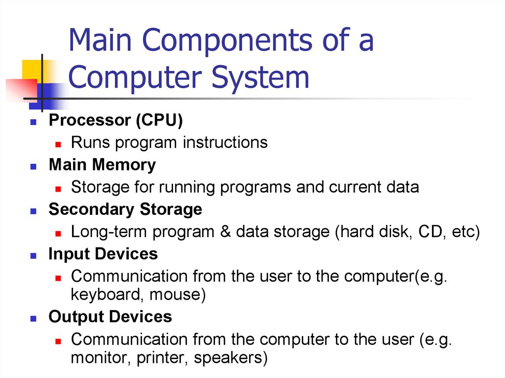 Main Components of a Computer System