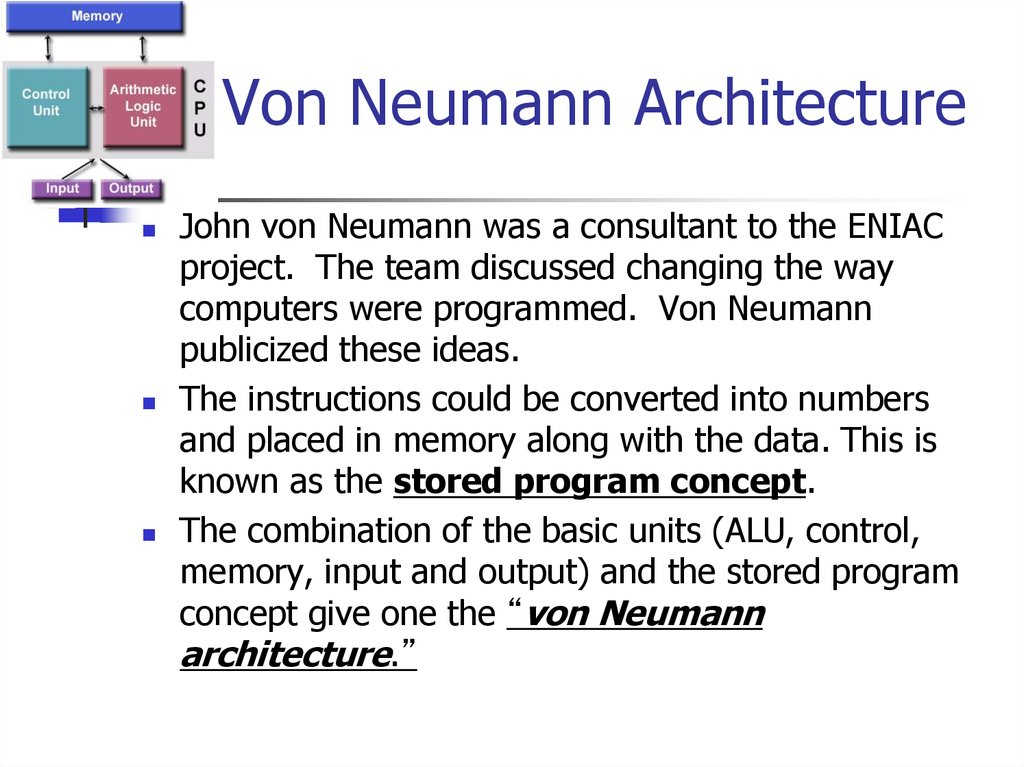 Introduction to computer systems architecture of a for Architecture von neumann