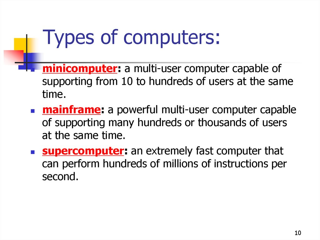 Types of computers: