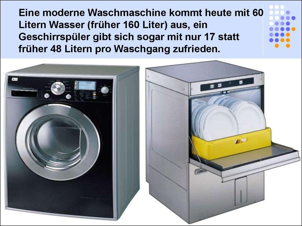 Moderne Waschmaschine kostbares trinkwasser presentation