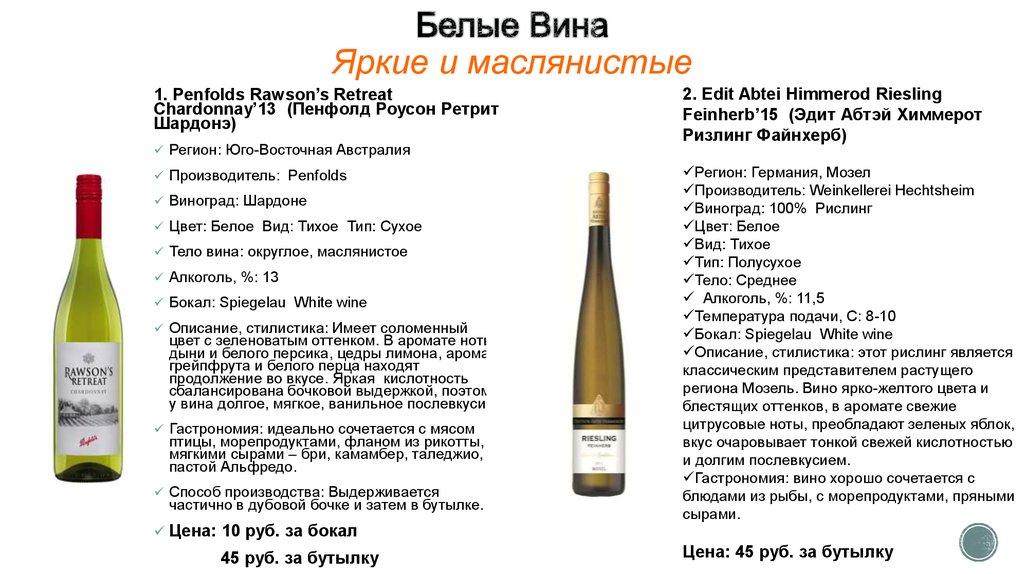 Белое вино какое бывает