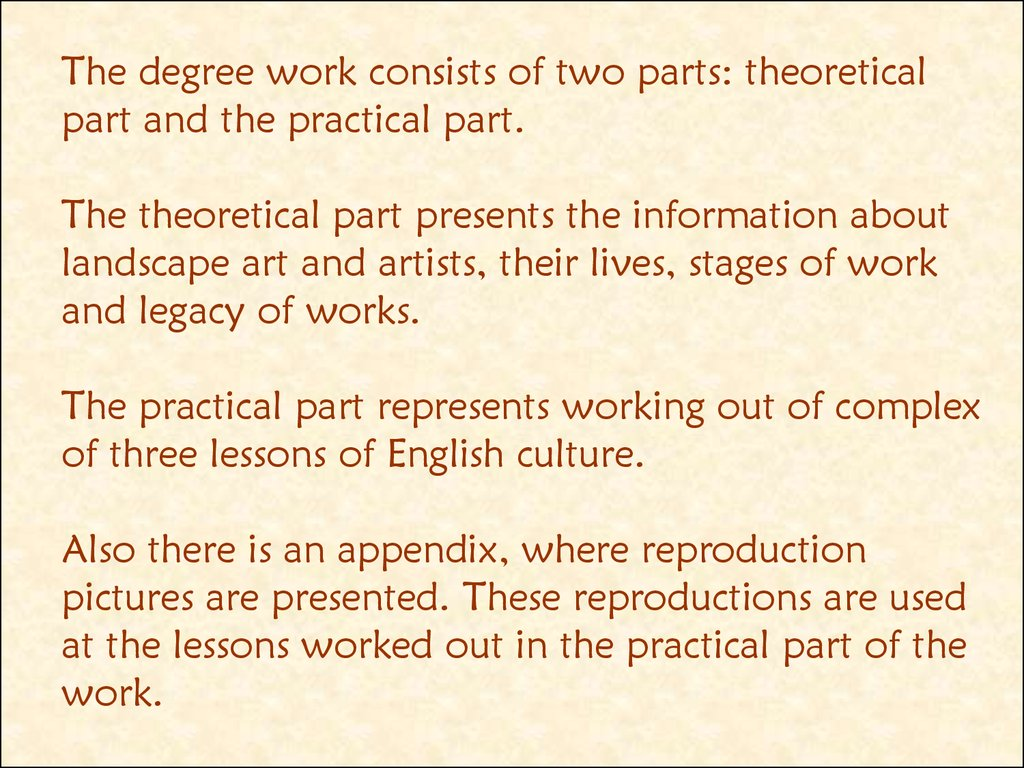 The degree work consists of two parts: theoretical part and the practical part. The theoretical part presents the information about landscape art and artists, their lives, stages of work and legacy of works. The practical part represents working out of co