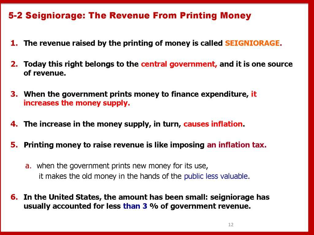 5-2 Seigniorage: The Revenue From Printing Money