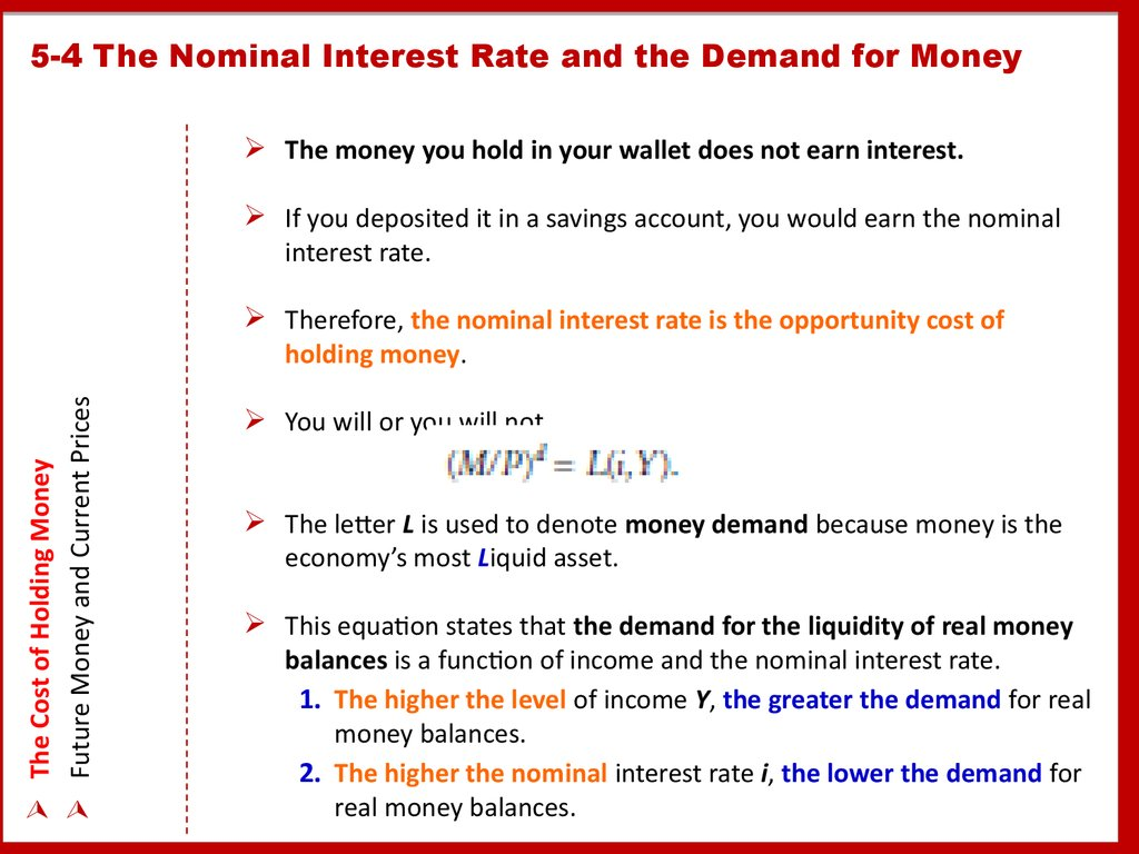 5-4 The Nominal Interest Rate and the Demand for Money
