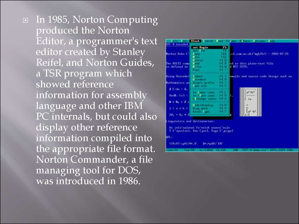 In 1985, Norton Computing produced the Norton Editor, a programmer's text  editor created by Stanley Reifel, and Norton Guides, a TSR program which