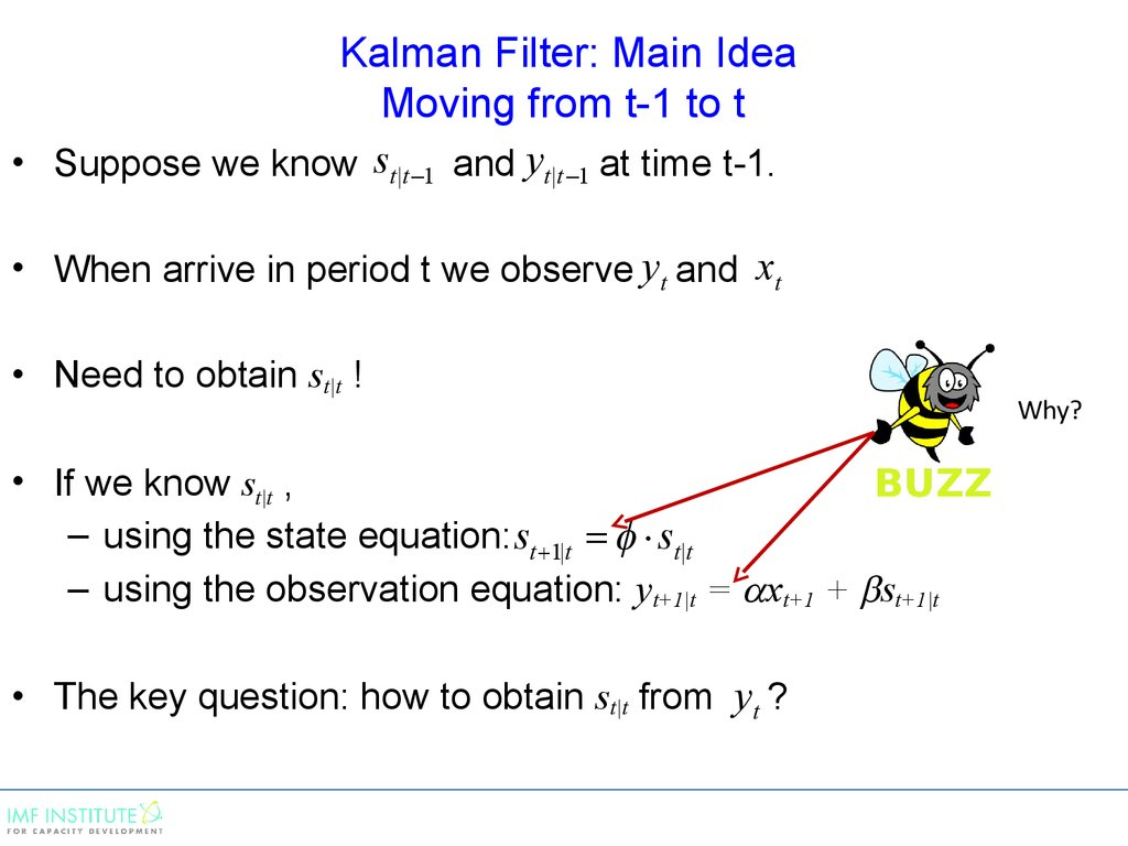 Kalman Filter: Main Idea Moving from t-1 to t