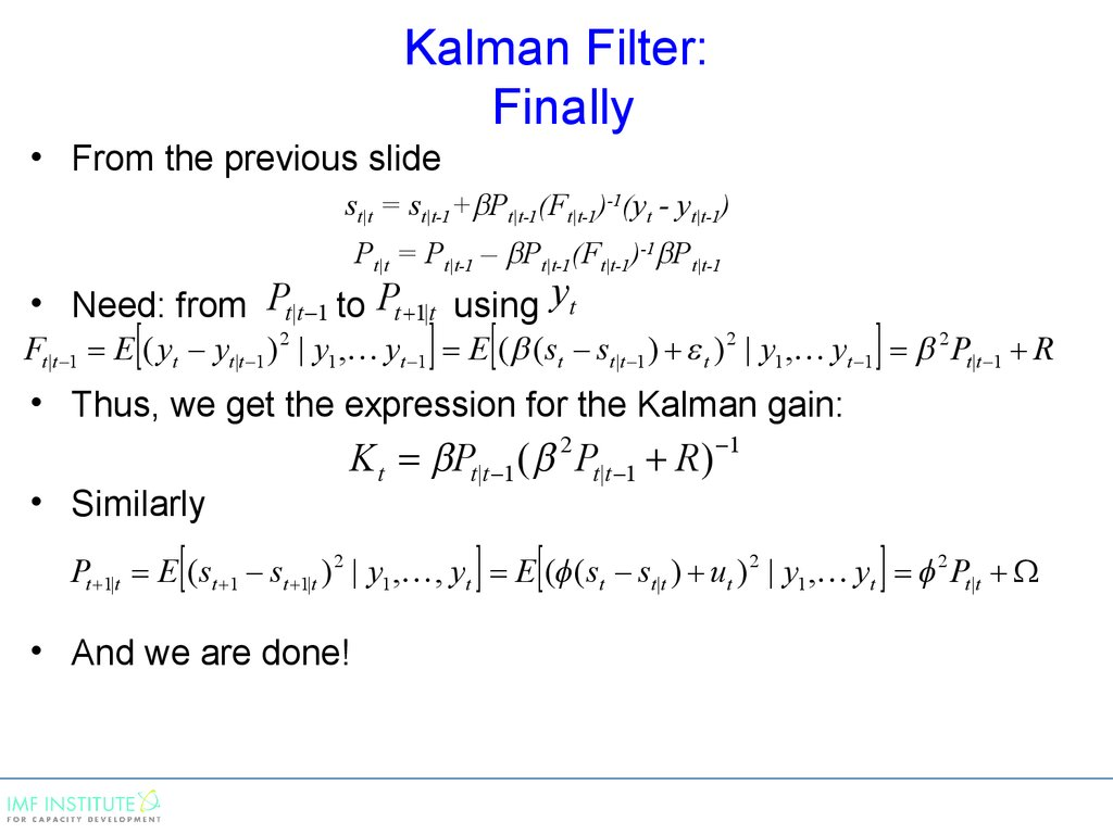 Kalman Filter: Finally