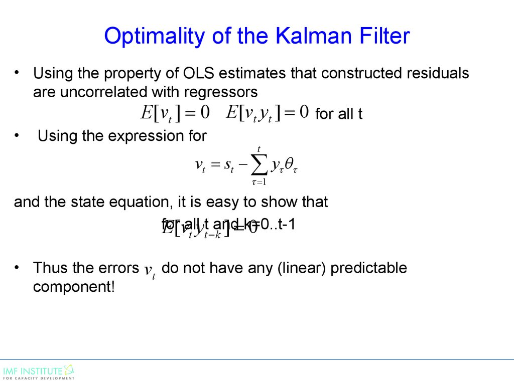 Optimality of the Kalman Filter