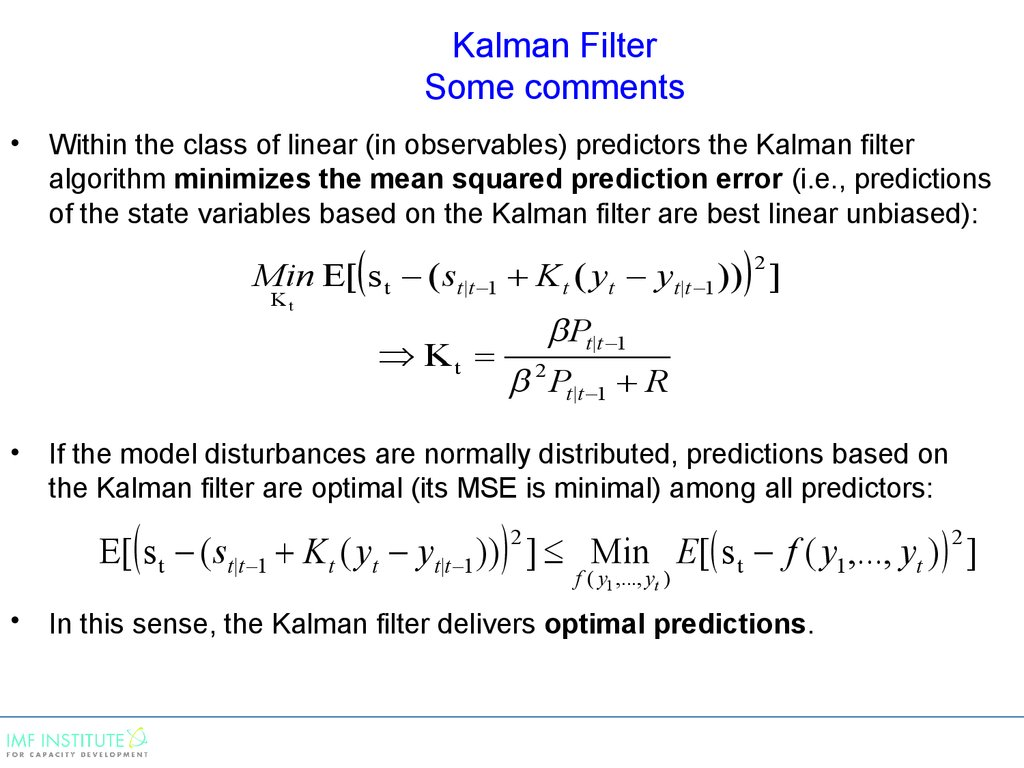 Kalman Filter Some comments