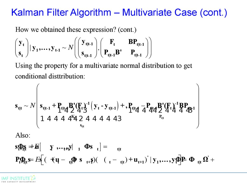 Kalman Filter Algorithm – Multivariate Case (cont.)