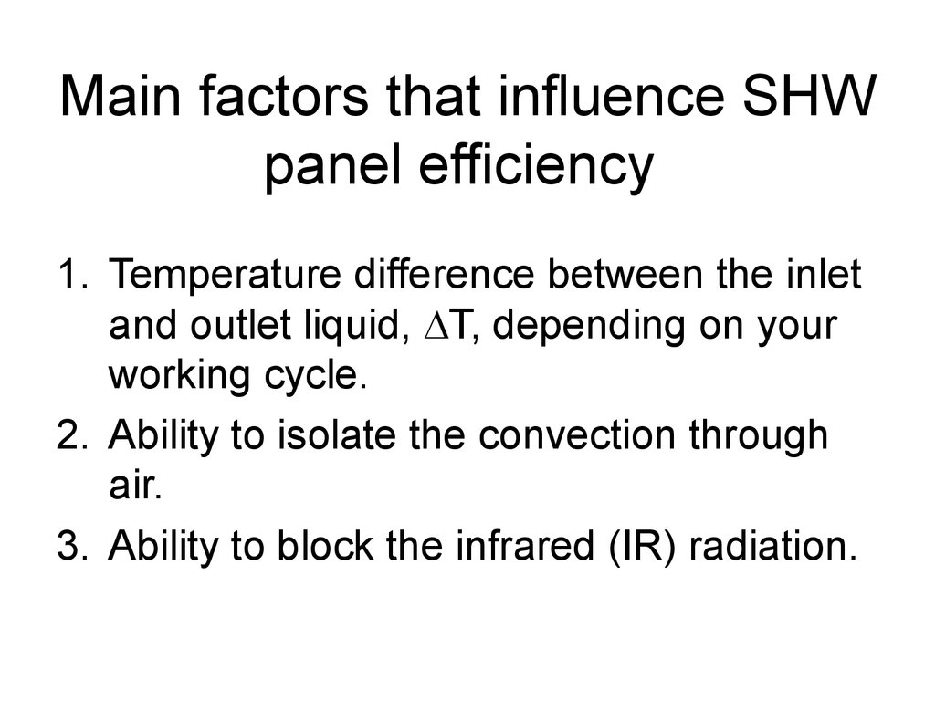 Main factors that influence SHW panel efficiency