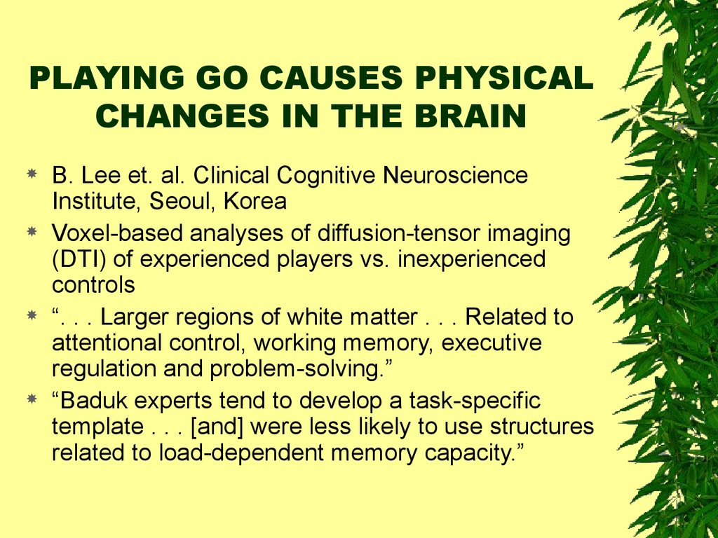 PLAYING GO CAUSES PHYSICAL CHANGES IN THE BRAIN
