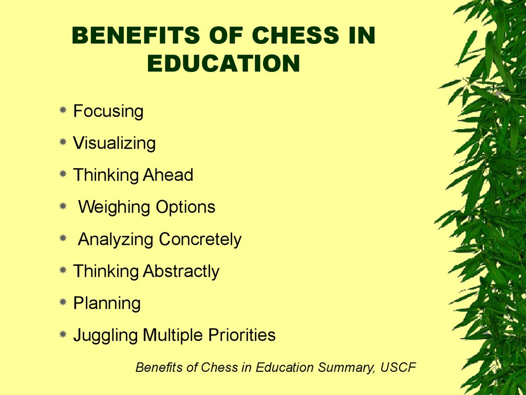 BENEFITS OF CHESS IN EDUCATION