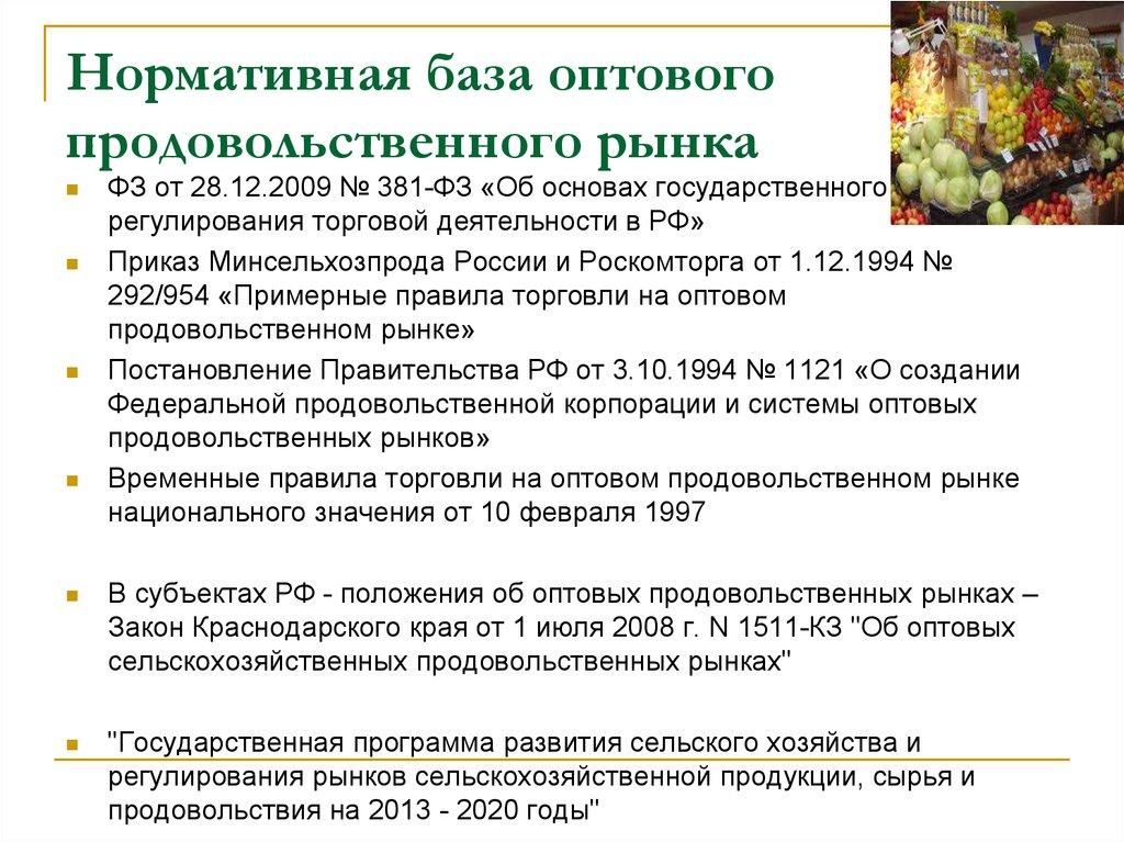 Закон об оптовых продовольственных рынках