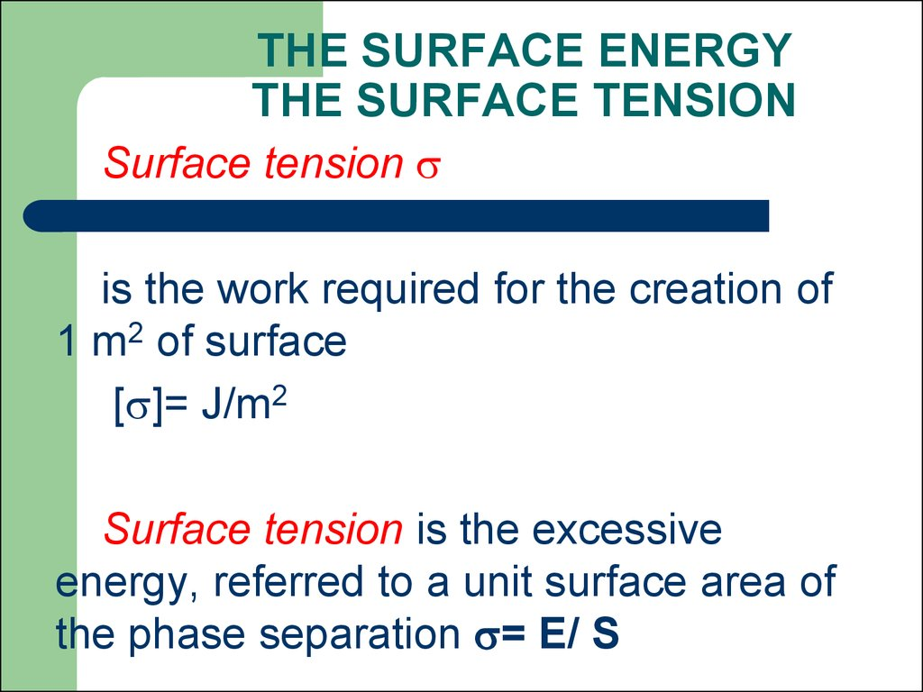 THE SURFACE ENERGY THE SURFACE TENSION